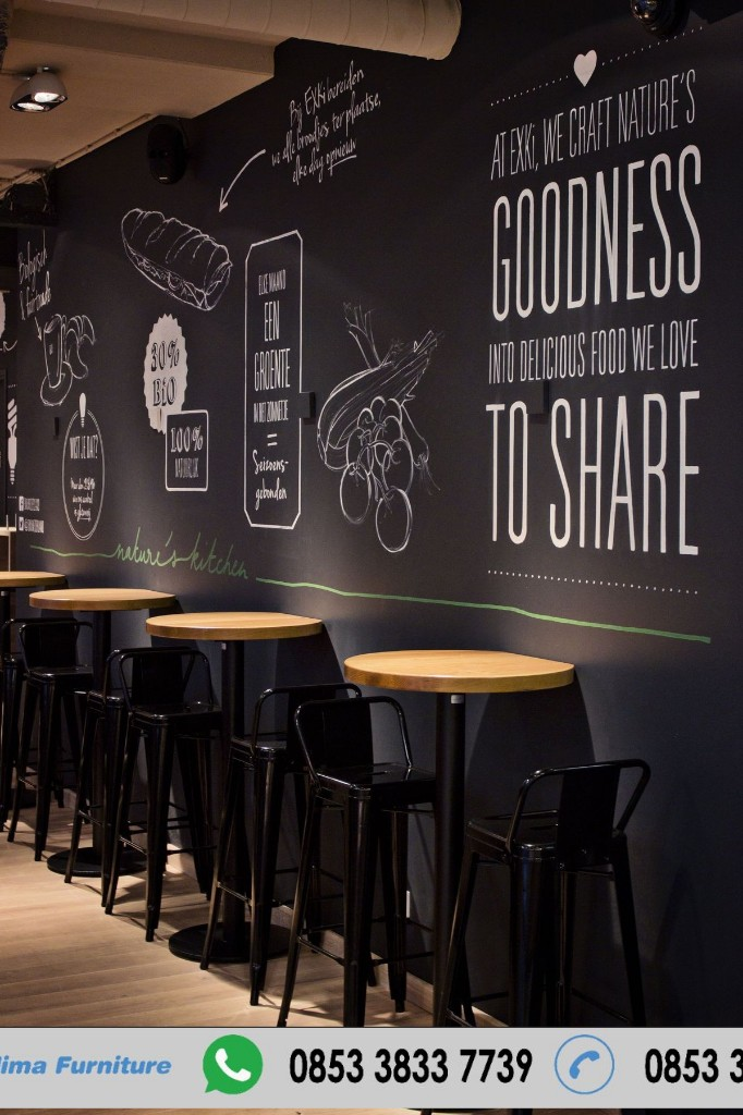 Kursi Cafe Tinggi Industrial Full Besi