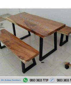 Meja Makan Bangku Blabak Kayu Trembesi Jepara