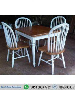 Set Meja Makan Putih Kombinasi Natural