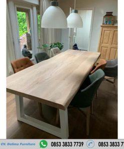 Meja Makan Tebal Kayu Jati Kaki Besi Putih