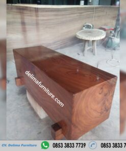 Bangku Balok Kayu Trmebesi Flat Minimalis Solid Real