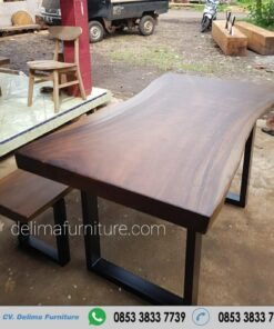 Set Meja Makan Kayu Trembesi Solid 150 cm